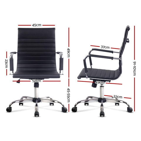 Eames Replica Office Chair Executive Mid Back Seating PU Leather - Black dimensions