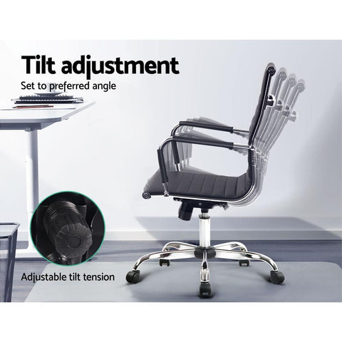 Eames Replica Office Chair Executive Mid Back Seating PU Leather - Black tilt adjustment