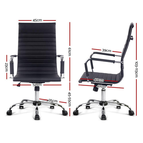Eames Replica Office Chair Executive High Back Seating PU Leather - Black dimensions