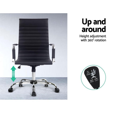 Eames Replica Office Chair Executive High Back Seating PU Leather - Black height adjustment