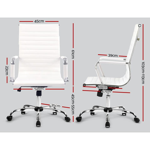 Artiss Eames Replica Office Chairs PU Leather Executive - White dimensions