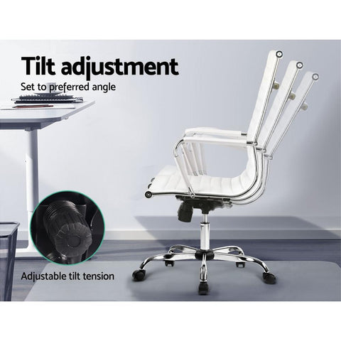 Artiss Eames Replica Office Chairs PU Leather Executive - White tilt adjustment