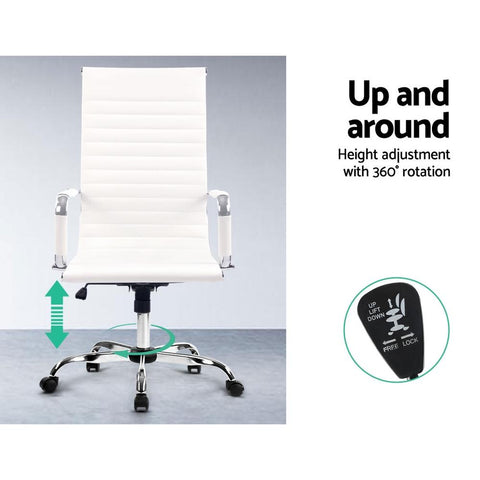 Artiss Eames Replica Office Chairs PU Leather Executive - White height adjustment