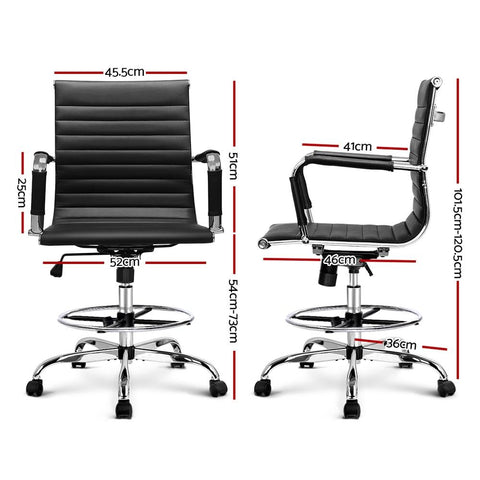 Office Chair Drafting Stool Leather Executive Chairs Armrest - Black dimensions