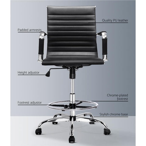 Office Chair Drafting Stool Leather Executive Chairs Armrest - Black leather PU
