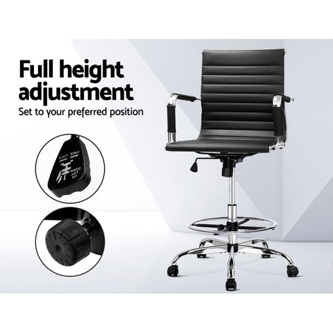 Office Chair Drafting Stool Leather Executive Chairs Armrest - Black full height adjustment