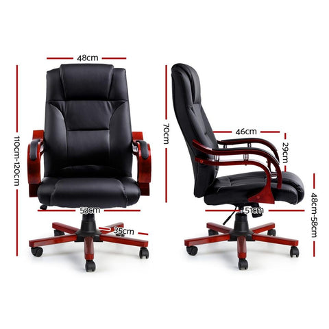 Executive Wooden Office Chair Leather Seat - Sherman dimensions