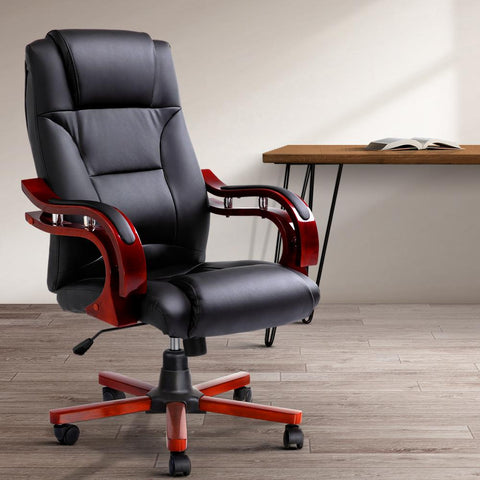 Executive Wooden Office Chair Leather Seat - Sherman black leather computer chair