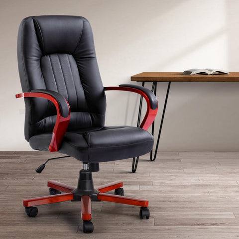 Executive Wooden Office Chair Wood Computer Chairs Leather Seat - Semper black office chair