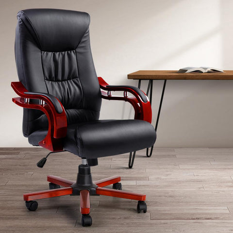Executive Wooden Office Chair Leather Seat - Sheridan black computer chair
