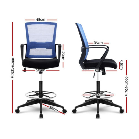 Artiss 'Veer' Office Chair Drafting Stool Mesh Chairs Black Standing Chair Stool - Black/Blue dimensions