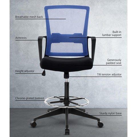 Artiss 'Veer' Office Chair Drafting Stool Mesh Chairs Black Standing Chair Stool - Black/Blue breathable fabric
