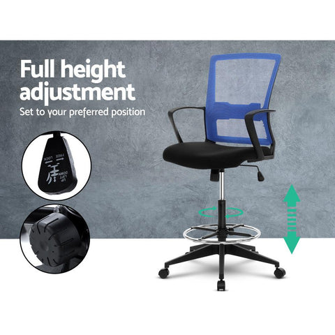 Artiss 'Veer' Office Chair Drafting Stool Mesh Chairs Black Standing Chair Stool - Black/Blue full height adjustment