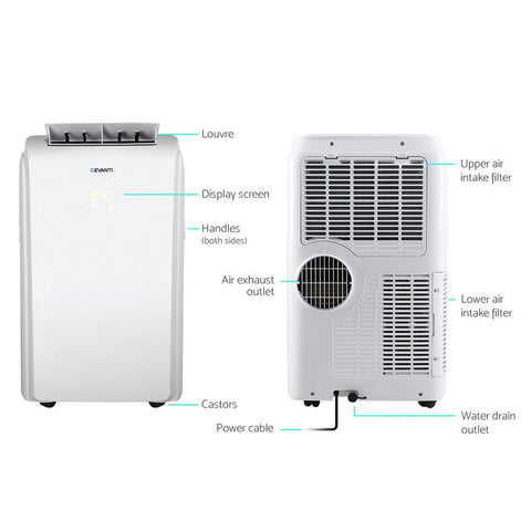 Devanti Portable Air Conditioner Cooling Mobile Fan Cooler Remote Window Kit White 3300W
