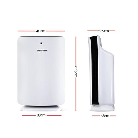 Devanti Air Purifier HEPA Filter Freshener Carbon Ioniser Cleaner with Remote Timer - White dimensions