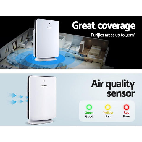 Devanti Air Purifier HEPA Filter Freshener Carbon Ioniser Cleaner with Remote Timer - White air quality sensor