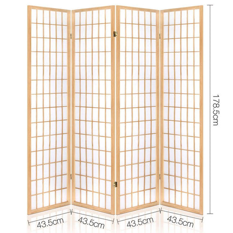 Artiss 4 Panel Wooden Room Divider - Natural dimensions