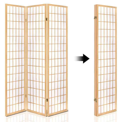Artiss 4 Panel Wooden Room Divider - Natural space saving design