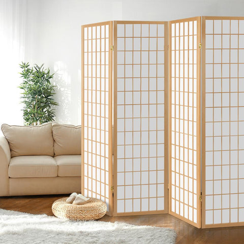 Artiss 4 Panel Wooden Room Divider - Natural white office partition