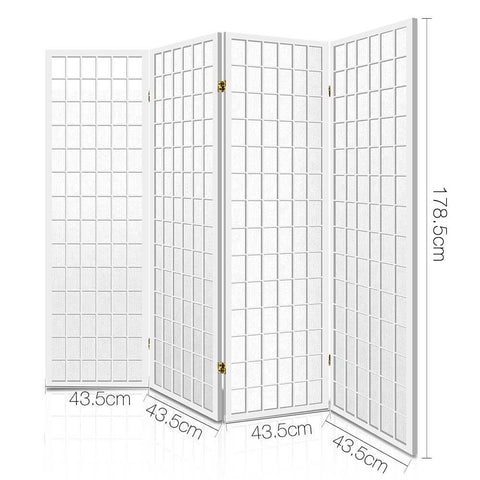 Artiss 4 Panel Wooden Room Divider - White dimensions