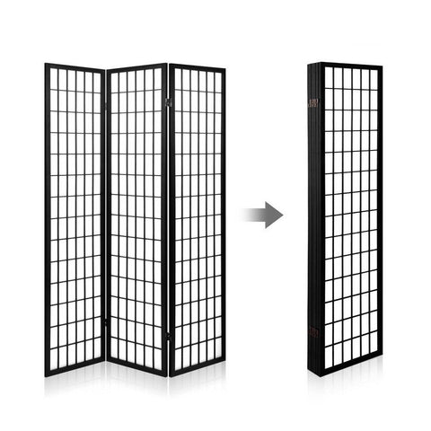 Artiss 6 Panel Room Divider Privacy Screen Foldable Pine Wood Stand - Black folded up