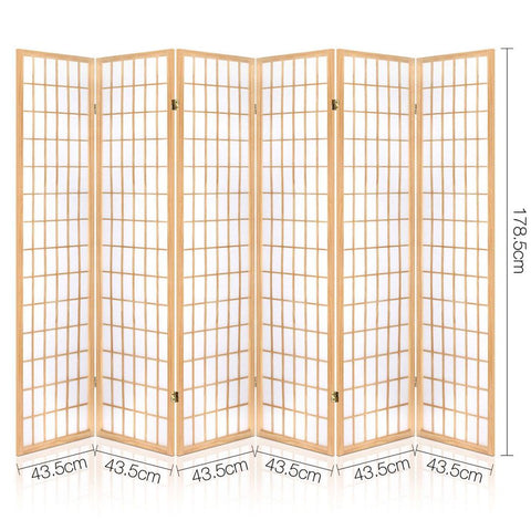 Artiss 6 Panel Room Divider Privacy Screen Foldable Pine Wood Stand - Natural dimensions