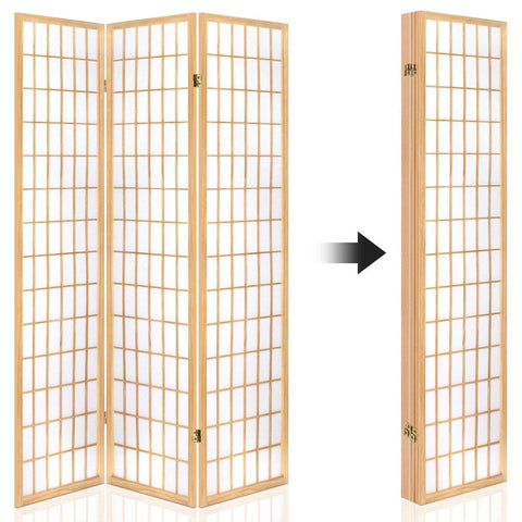Artiss 6 Panel Room Divider Privacy Screen Foldable Pine Wood Stand - Natural fold up
