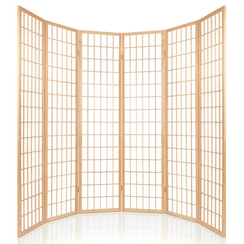 Artiss 6 Panel Room Divider Privacy Screen Foldable Pine Wood Stand - Natural curved design