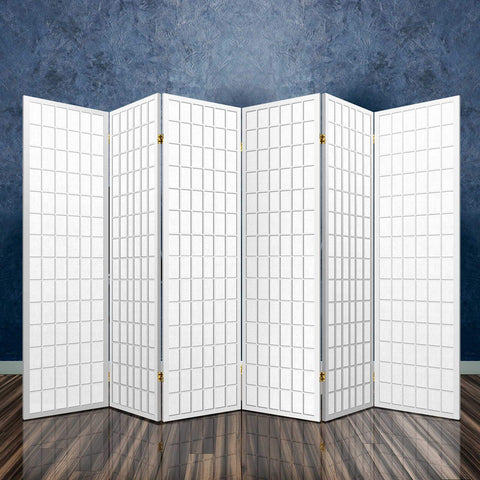 Artiss 6 Panel Room Divider Privacy Screen Foldable Pine Wood Stand - White large office divider