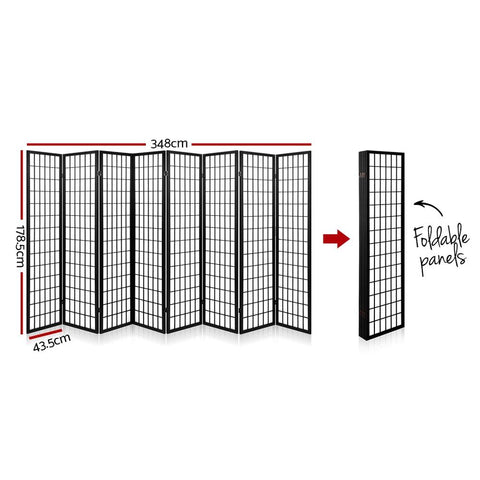 Artiss 8 Panel Room Divider Privacy Screen Dividers Stand Oriental Vintage - Black dimensions