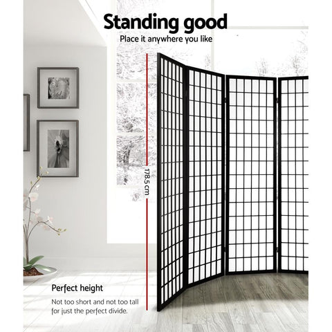 Artiss 8 Panel Room Divider Privacy Screen Dividers Stand Oriental Vintage - Black perfect height