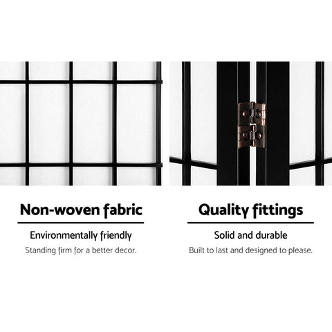 Artiss 8 Panel Room Divider Privacy Screen Dividers Stand Oriental Vintage - Black non woven fabric quality fittings