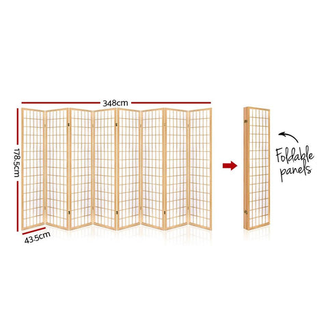 Artiss 8 Panel Room Divider Privacy Screen Dividers Stand Oriental Vintage - Natural dimensions