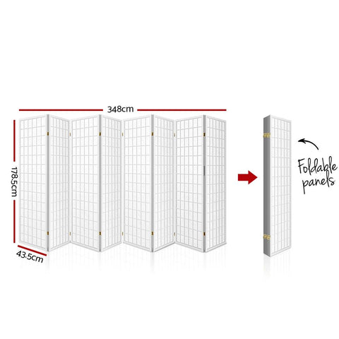 Artiss 8 Panel Room Divider Privacy Screen Dividers Stand Oriental Vintage - White dimensions