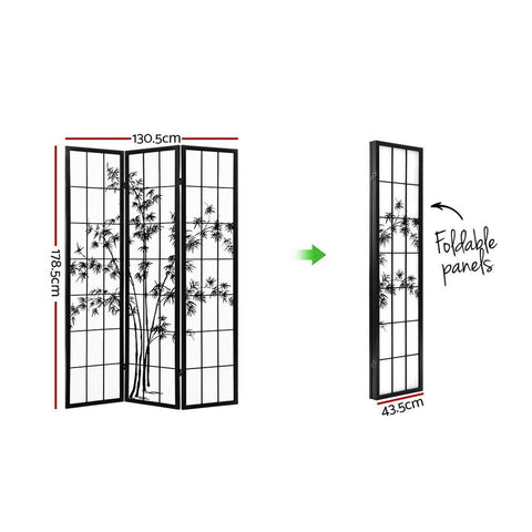 Artiss 3 Panel Room Divider Screen Privacy Dividers Pine Wood Stand Shoji Bamboo - Black/White dimensions