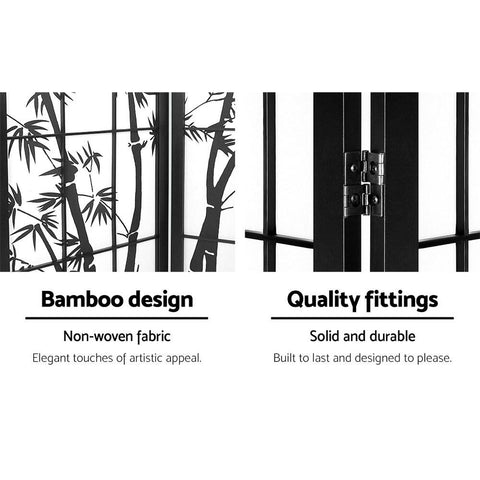 Artiss 3 Panel Room Divider Screen Privacy Dividers Pine Wood Stand Shoji Bamboo - Black/White quality fittings