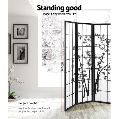 Artiss 3 Panel Room Divider Screen Privacy Dividers Pine Wood Stand Shoji Bamboo - Black/White standing dimensions