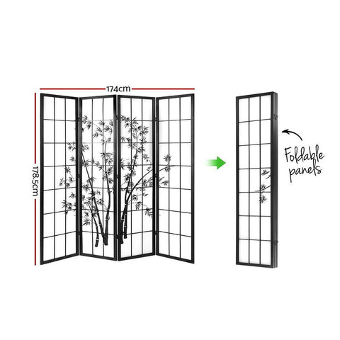 Artiss 4 Panel Room Divider Screen Privacy Dividers Pine Wood Stand Shoji Bamboo - Black/White dimensions