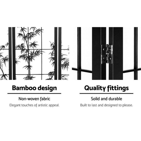 Artiss 4 Panel Room Divider Screen Privacy Dividers Pine Wood Stand Shoji Bamboo - Black/White quality fittings