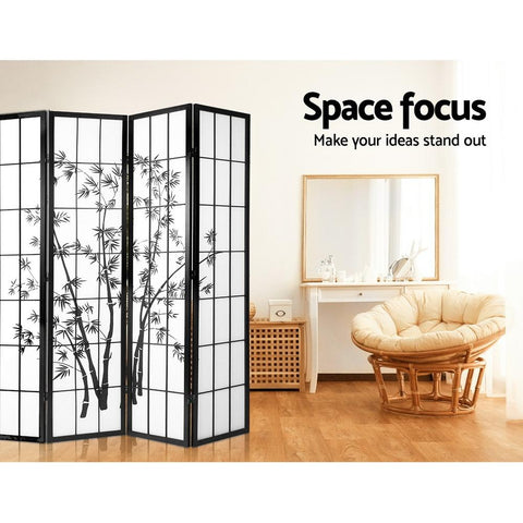 Artiss 4 Panel Room Divider Screen Privacy Dividers Pine Wood Stand Shoji Bamboo - Black/White space focus