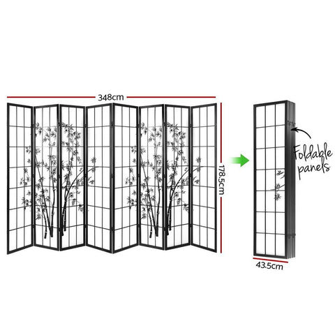 Artiss 8 Panel Room Divider Screen Privacy Dividers Pine Wood Stand Shoji Bamboo - Black/White dimensions