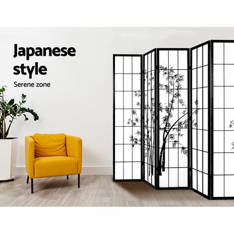 Artiss 8 Panel Room Divider Screen Privacy Dividers Pine Wood Stand Shoji Bamboo - Black/White Japanese style divider