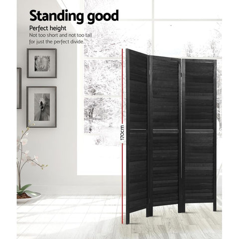Artiss 3 Panel Room Divider Screen Privacy Wood Dividers Timber Stand - Black perfect height