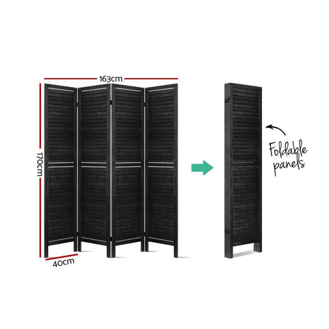 Artiss 4 Panel Room Divider Screen Privacy Wood Dividers Timber Stand - Black dimensions