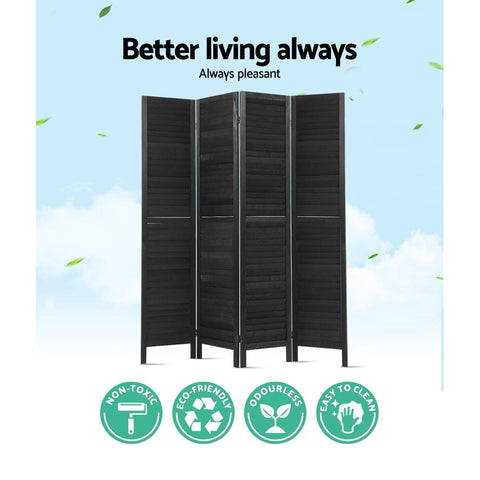 Artiss 4 Panel Room Divider Screen Privacy Wood Dividers Timber Stand - Black better living