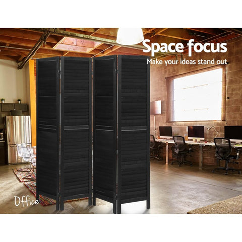 Artiss 4 Panel Room Divider Screen Privacy Wood Dividers Timber Stand - Black space focus
