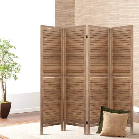 Room Divider Privacy Screen Foldable Partition Stand 4 Panel - Brown office divider