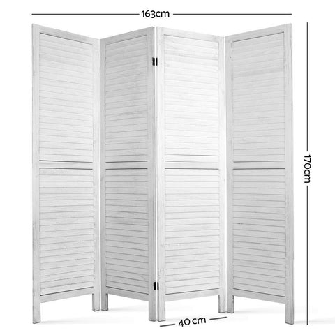 Artiss 4 Panel Foldable Wooden Room Divider - White dimensions