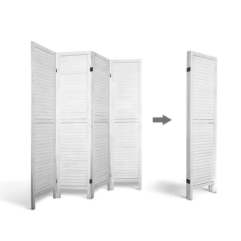 Artiss 4 Panel Foldable Wooden Room Divider - White compact design