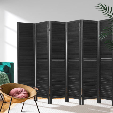 Artiss 6 Panel Room Divider Screen Privacy Wood Dividers Timber Stand - Black loungeroom divider